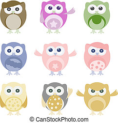 Set of nine cartoon owls with various emotions - Set of nine...
