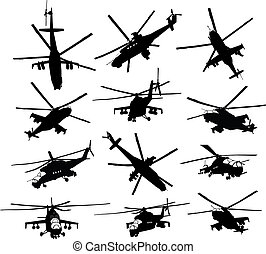 Helicopter silhouettes set - Mi-24 Hind combat helicopter...