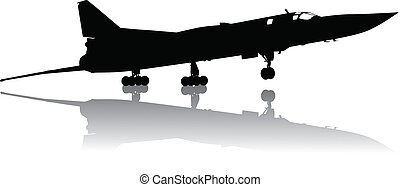 Military plane take off - Vector silhouette of Tu-22...