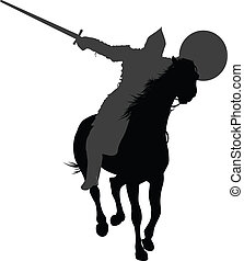 Vector horseman - Detailed silhouette of ancient warrior...