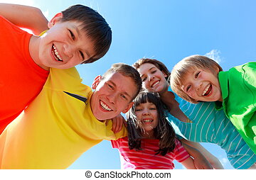 Happy children - Group of happy, smiling, excited children...