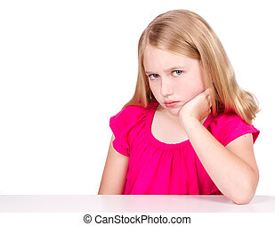 Angry or upset child or pre-teen isolated on white...