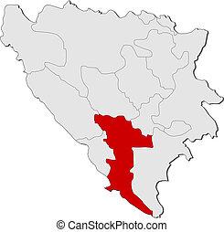 Map of Bosnia and Herzegovina, Herzegovina-Neretva highlighted