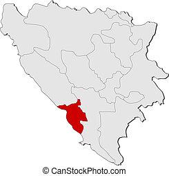 Map of Bosnia and Herzegovina, West Herzegovina highlighted