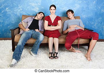 Annoyed Woman and Two Men - Annoyed woman between two...