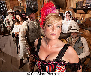 Serious Group of People in Old Saloon - Sexy show girl with...