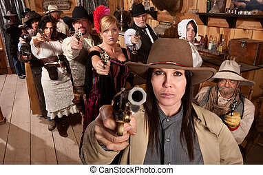 Dangerous People in Bar Point Their Guns - Armed saloon...