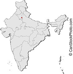 Map of India, National Capital Region highligh