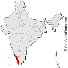 Map of India, Kerala highlighted - Political map of India...
