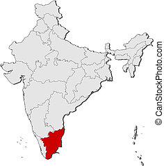 Map of India, Tamil Nadu highlighted - Political map of...