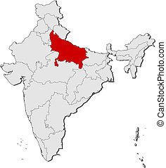 Map of India, Uttar Pradesh highlighted - Political map of...