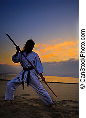 karate on sunset beach - young woman training karate on...
