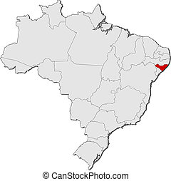Map of Brazil, Alagoas highlighted - Political map of Brazil...