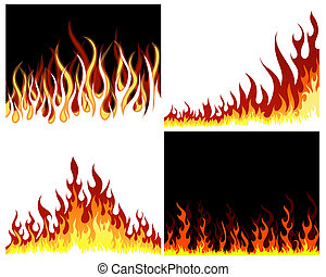 fire background set - Inferno fire vector background set for...