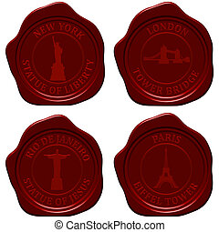 Landmark sealing wax stamp set for design use. Vector...