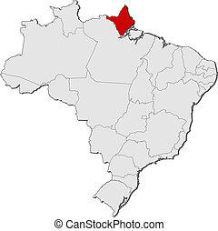 Map of Brazil, Amapa highlighted - Political map of Brazil...