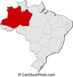 Map of Brazil, Amazonas highlighted - Political map of...