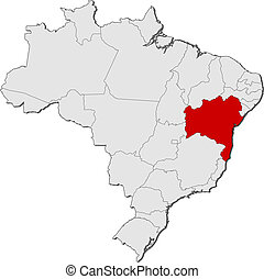 Map of Brazil, Bahia highlighted - Political map of Brazil...