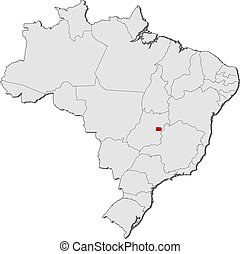 Map of Brazil, Brazilian Federal District highlighted -...