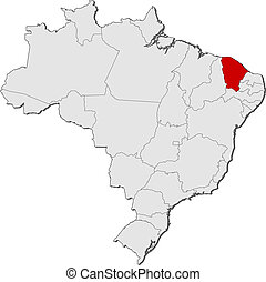 Map of Brazil, Ceara highlighted - Political map of Brazil...
