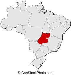 Map of Brazil, Goias highlighted - Political map of Brazil...