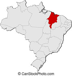 Map of Brazil, Maranhao highlighted - Political map of...