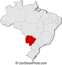 Map of Brazil, Mato Grosso do Sul highlighted - Political...