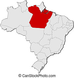 Map of Brazil, Para highlighted