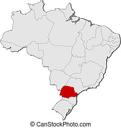 Map of Brazil, Parana highlighted - Political map of Brazil...