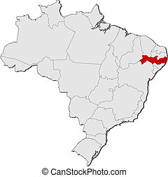 Map of Brazil, Pernambuco highlighted - Political map of...