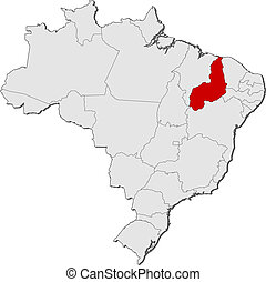Map of Brazil, Piaui highlighted - Political map of Brazil...