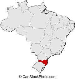 Map of Brazil, Santa Catarina highlighted - Political map of...