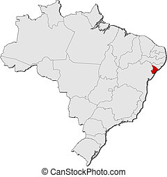 Map of Brazil, Sergipe highlighted
