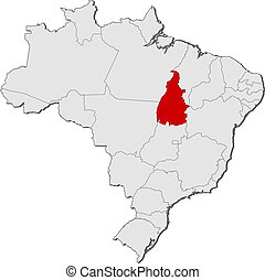 Map of Brazil, Tocantins highlighted