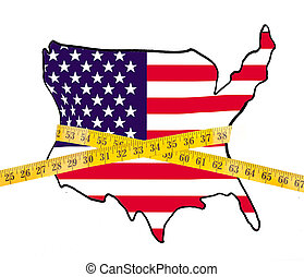 Map of America on a diet, with measuring tape isolated on...