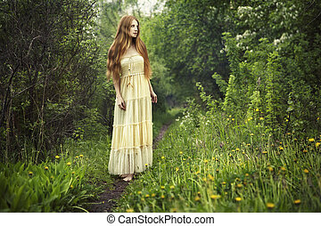 Photo of romantic woman in fairy forest Beauty summertime