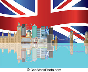 London Skyline with Union Jack Flag Illustration - London...