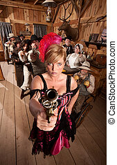 Dangerous Showgirl in Old Saloon - Show girl points her...