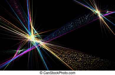 Musical explosion, colorful musical background with music notes and rays of light