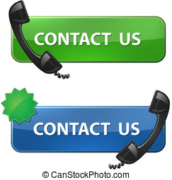 "Contact Us - ""Contact Us"" icon. Phone receiver and contact..."
