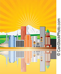 Portland Skyline at Sunrise Illustration - Portland Oregon...