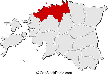 Map of Estonia, Harju highlighted - Political map of Estonia...