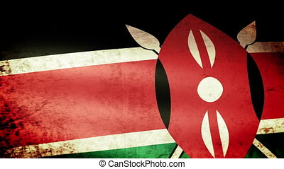 Kenya Flag Waving, grunge look
