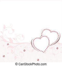 Wedding love frame with hearts and lace frame, copyspace for...