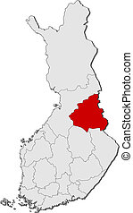 Map of Finland, Kainuu highlighted