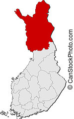 Map of Finland, Lapland highlighted