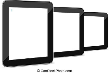tablet pc with empty white screen and black frame