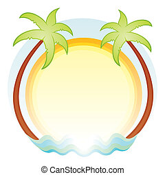 Palm trees - Tropics symbol with palms sun and sea