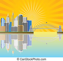 Sydney Australia Skyline with Sun Rays Illustration