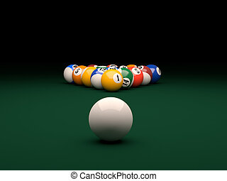 Pool - 3d render of balls on a pool billiards green table